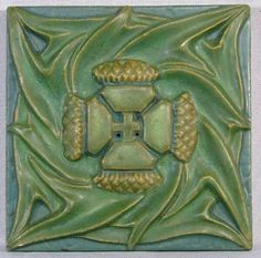 Rookwood Pottery Tile Arts and Crafts Thistle, c1910