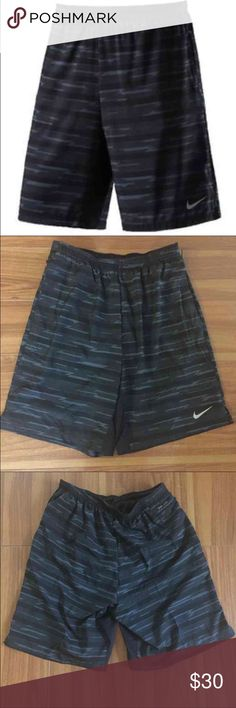 """Nike Dri-Fit Printed 9"""" Distance Running Shorts BRAND NEW WITH TAGS Retail $55 Brand new with tags  Elastic waistband with interior drawstring for an adjustable fit  Interior brief  Dri-Fit fabric to help keep you dry and comfy Mesh gusset for breathability  Side seam hand pockets and one small zip close back pocket  Reflective Nike swoosh logo on left leg  Approximate inseam 8.5"""" from size Medium o Fabric: 88% Polyester 12% Spandex  Please note: first picture is a stock photo, reference…"""