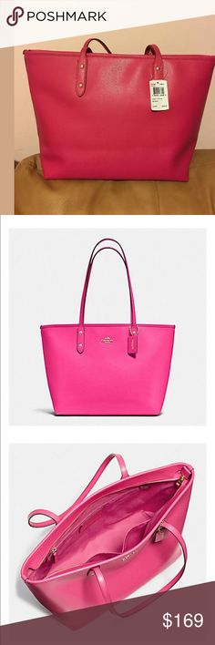 """NWT Coach Classic City Tote in Bright Pink Brand New Coach F37785 Classic City Tote in Crossgrain Leather Shoulder Bag Pink 100% authentic with tag and original packing material   MSRP $295.00+tax Specifications:  How to open / close : zipper closure, fabric lining  Interior: zip pocket, cell phone and multifunction pockets  Color: Pink  Material: Crossgrain Leather Measurement: 10 1/2"""" H x 16"""" L x 5 1/2"""" W  9"""" double handle to carry on shoulder  Polished with gold top hard wear Coach Bags"""