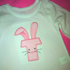 Bunny Easter shirt with T.  I can do any letter