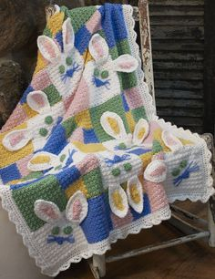 Somebunny to Love Posted on April 20, 2011 by hotzenfeffer Standard You have requested crochet, and Caron International has stepped up to the plate to deliver this sweet Bunny Blanket in perfect time for spring, and baby showers—now hop to it!