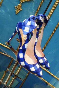 Miu Miu Blue Gingham Heels http://amzn.to/2tDbQI4