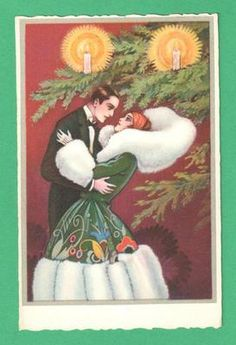 VINTAGE A. BUSI ART DECO CHRISTMAS POSTCARD GENT BEAUTIFUL LADY TREE CANDLES | eBay