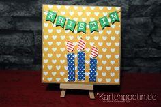 Geburtstagskarte mit Namenswimpelkette