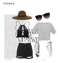 """""""Untitled #13"""" by georgia-marcellus on Polyvore featuring Topshop, Maison Michel, Converse and Ray-Ban"""