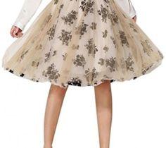 Choies Women's Vintage Retro Beige High Waist Floral Print Tulle Knee Length Skirt