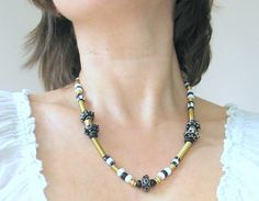 Black and white handmade glass beads necklaces with by murmurbeads