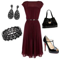 Maroon dress.