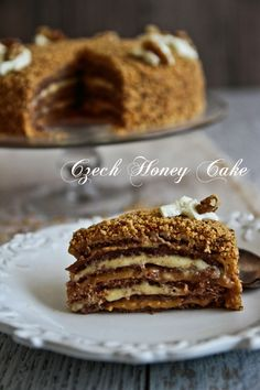 Czech Honey Cake (Medovnik) & Some Book News! Czech Honey Cake (Medovnik) - hv been thinking all abt this delicious cake since I tried one in cesky krumlov. Slovak Recipes, Czech Recipes, Russian Recipes, Czech Desserts, Just Desserts, Sweet Recipes, Cake Recipes, Dessert Recipes, Kolache Recipe