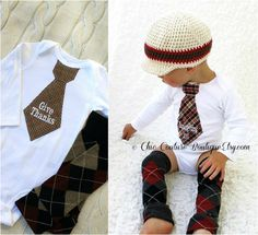 Fall Thanksgiving Baby Boy Give Thanks Tie by ChicCoutureBoutique, $31.95