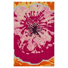 Multicolor wool rug with an oversized floral motif. Hand-tufted in India.  Product: RugConstruction Material: 10...
