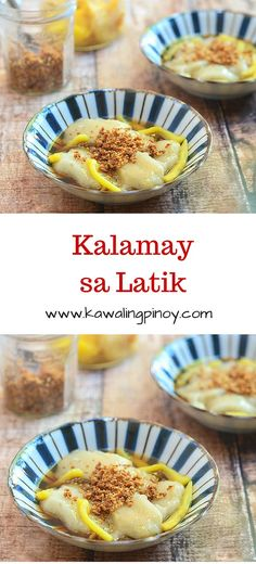 Kalamay sa latik is a type of FIlipino kakanin made with steamed sticky rice cake stewed in simple syrup with  latik and jackfruit strips