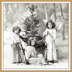 PAPER napkins for DECOUPAGE - SAGEN Vintage Christmas Angels Grey S033 by VintageNapkins on Etsy