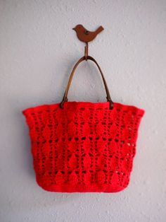 Red Crocheted Bag by PortulaKa, via Flickr-no instructions be would look great with a lining.