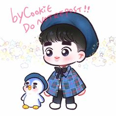 🐧 <credits to owner> Kpop Exo, Exo Kokobop, Exo Anime, Anime Chibi, Kyungsoo, Exo Cartoon, Exo Stickers, 5 Years With Exo, Children Sketch
