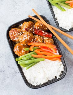 Spicy Chinese Chicken Meatballs & Meal prep lunch bowl