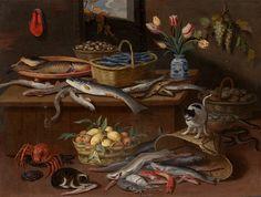 """JAN VAN KESSEL I """"Bodegón de pescado, frutas, flores y gato"""""""