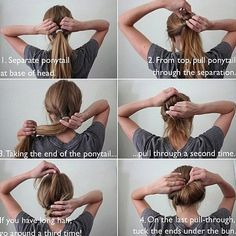 Easy hair bun how to... So pretty and it takes like thirty seconds! (My kind of hairdo...)