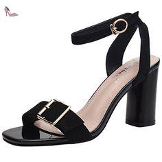 Oasap Women's Fashion Open Toe Ankle Strap Chunky Heels Slingback Sandals, Black EURO35/US4/UK2 - Chaussures oasap (*Partner-Link)