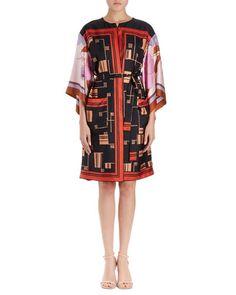 DRIES VAN NOTEN RAMIDO GRAPHIC-PRINT SILK KIMONO COAT. #driesvannoten #cloth #