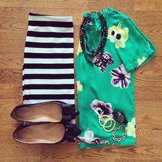 Punk Floral Top, Striped Pencil Skirt, J.Crew Emery Bow Flats | #workwear #officestyle #liketkit | www.liketk.it/167hI | IG: @whitecoatwardrobe