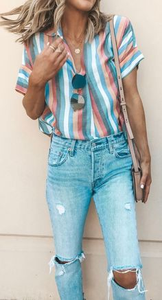 VISIT FOR MORE white pink and gray striped shirt and distressed denim jeans. The post white pink and gray striped shirt and distressed denim jeans. Look Fashion, Denim Fashion, Fashion Women, Feminine Fashion, Fashion Ideas, Fashion Clothes, Fashion Beauty, Dress Clothes, Womens Fashion Outfits