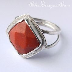 Red Faceted Lapis Handmade OOAK Ring Sterling by Che4uDesigns, $44.00