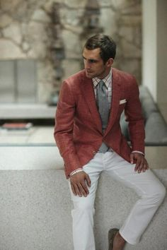 "Nothing says ""dapper summer"" more than white pants & a bright fitted blazer."