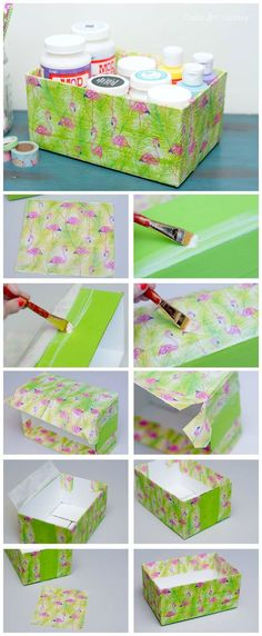 Use napkins from the dollar store (or tissue paper) along with decoupage medium in this unique box makeover project. It's so inexpensive and easy to do! Tissue Paper Storage, Craft Paper Storage, Craft Organization, Organizing, New Crafts, Crafts To Sell, Diy And Crafts, Crafts For Kids, Paper Crafts
