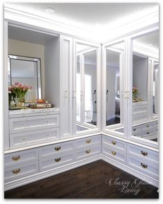 DIY Custom Dressing Room Walk-in Closet | Closet design crown moulding and trim detail, mirror closet doors, LED tape lights | Classy Glam Living