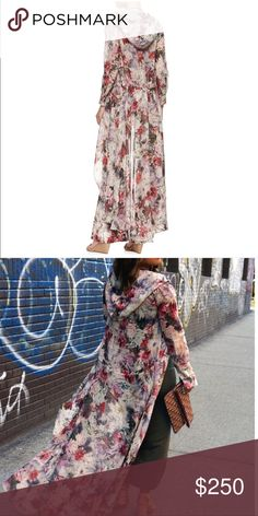 Haute Hippie chiffon silk floral hooded duster S Excellent condition, vintage style elegant duster. size small Haute Hippie Jackets & Coats