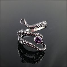 CLEO SALE! - WIcked Tentacle Ring with Amethyst, Wedding Band, Engagement Ring, Occasion