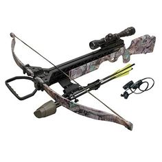 175 lbs. draw weight Weighs only 6 lbs, making it easy to carry during a long day in the field Shoots 305 fps Package includes a scope, rope cocker, quiver and arrows #getinthegame