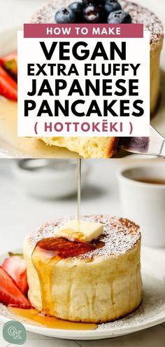 Vegan Fluffy Japanese Pancakes (Hottokēki) - Okonomi Kitchen Pancakes Végétaliens, Vegan Pancakes, Vegan Breakfast Recipes, Vegetarian Recipes, Dessert Recipes, Vegan Baking Recipes, Diet Desserts, Thm Recipes, Vegan Recipes
