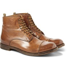 Officine Creative - Polished Lace-Up Leather Boots
