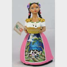 Authentic Original Premium Najaco Lupita w Basket of Cheese Queso, Mexican Ceramic Figurine w Pink Dress. Pottery Clay from Mexico by Wandering Gypsy from Tonala Cheese Baskets, Mexican People, Mexican Ceramics, Ceramic Figures, How To Make Paint, Mexican Folk Art, Is 11, Beauty Women, Mustard