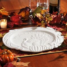 """Repin if you have many blessings to be thankful for! This Harvest Turkey Platter reads, """"We give thanks to God"""" and is finished in a smooth white ceramic #kirklands #harvest"""