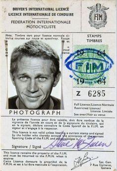 Steve #McQueen's international drivers license