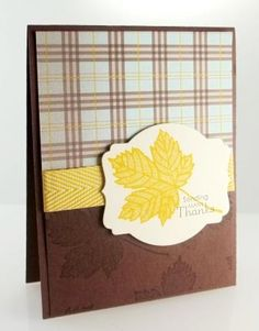 Perfect for any man - using the Magnificent Maple stamp, sweater weather dsp, and chevron ribbon from Stampin' Up! www.craftingjoy.ca