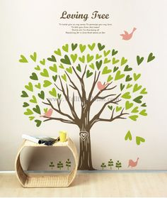Loving Tree With Birds Wall Decals– WallDecalMall.com