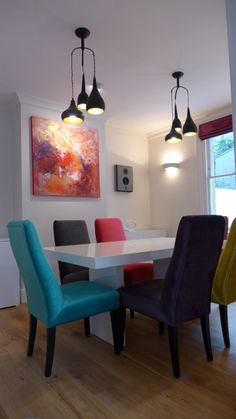 Dining Room With Colourful Chairs Gloss White Table And Contemporary Art Wall Speakers For Home Music Distribution System Bespoke