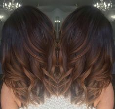 Dark brown with chocolate and caramel ombré hair