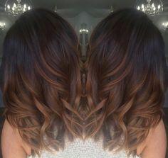 Dark brown with chocolate and caramel ombré hair
