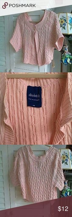 CABLE STITCH COTTON CROPPED CARDIGAN 100% cotton cable stitch cropped cardigan. Good condition. Large. Light pink. Smoke and pet free home. ABSOLUTELY Sweaters Cardigans