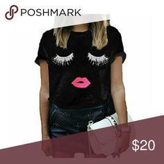 Cute Black Eyelash Tee Fun, stylish eyelash detail tee. Soft stretchy cotton material. Brand New Tops Tees - Short Sleeve