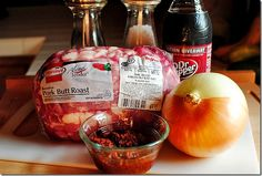 Crockpot Pork Tacos 4-5lb pork butt (may be called pork shoulder) salt & pepper 1 large sweet onion 4 chipotle peppers in adobo sauce + 2 Tablespo...