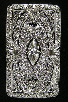 Diamond and platinum brooch - art deco - by Tiffany - 9 ctw - $12,500