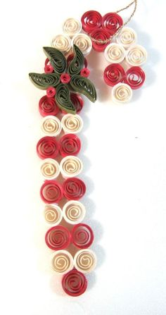 Handmade Paper Curled Candy Cane Christmas Ornament Unique