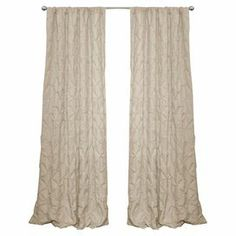 """Curtain in taupe with embroidered diamond texturing and a rod pocket design.    Product: CurtainConstruction Material: 100% PolyesterColor: TaupeFeatures:  3-Dimensional embroidery detailsDiamond pattern3"""" Rod pocket slides over curtain rod for easy installation Dimensions: 84"""" H x 50"""" W Note: Image depicts two panels, but price is for one"""