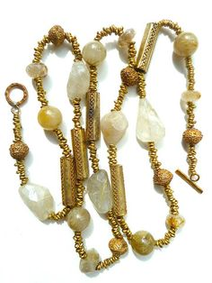 Necklace Vintage Brass Citrine Quartz Agates by IMPERIO jp